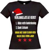 Verlanglijstje kerst  T-shirt maat XL Dames zwart