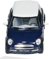 Kinsmart Metalen mini cooper: blauw 12,7 cm