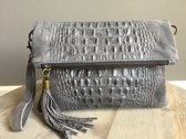 Clutch Croco Leather Grey