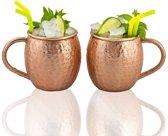 Gadgy® - Moscow Mule bekers - Set van 2 gehamerde koperen cocktailbekers – 100% koperen mok voor cocktail - Inhoud 475 ml.