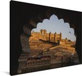 Schitterende afbeelding van het Fort Amber in India Canvas 30x20 cm - klein - Foto print op Canvas schilderij (Wanddecoratie woonkamer / slaapkamer)