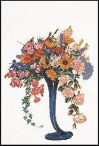 Thea Gouverneur Borduurpakket 1086 Zomer Bouquet - Linnen stof