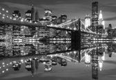 Fotobehang New York City Skyline Brooklyn Bridge | XXXL - 416cm x 254cm | 130g/m2 Vlies