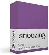 Snoozing flanel split-topper hoeslaken Paars Lits-jumeaux (160x210/220 cm) (85 paars topper)