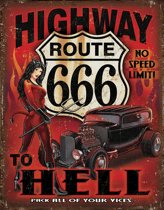 Signs-USA Highway to Hell - Retro Wandbord - Metaal - 40x30 cm