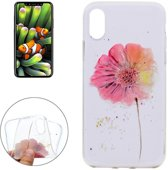 iPhone X / XS - hoes, cover, case - TPU - Transparant - Bloem