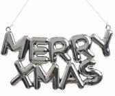 Kerstboom decoratie Merry Xmas 20 x 10 cm zilver