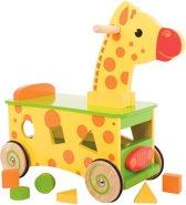 Houten Loop en Sorteerwagen Giraffe