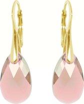 Zilveren Goudkleurige Oorbellen met Swarovski Elements Light Rose 16MM