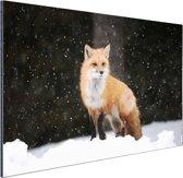Vos in een sneeuwbui Aluminium 120x80 cm - Foto print op Aluminium (metaal wanddecoratie)