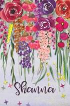 Shanna: Personalized Lined Journal - Colorful Floral Waterfall (Customized Name Gifts)