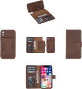 Celkani ® Telefoonhoesje voor Apple iPhone XR - Magische lederen 2in1 back en book cover ID type met geïntegreerd kaarthouder - 360° beschermende leren behuizing  - Antiek bruin volledig echt kalfsleer - Handarbeid
