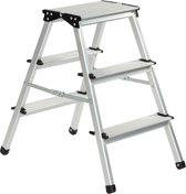 ESCALO Huishoudtrap - Trapladder - Aluminium - 2 x 3 Treden