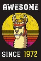 Awesome Since 1972: Llama Retro Sunshine Lined Journal and Vintage Happy Birthday Gift Notebook