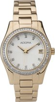 Mooi dames horloge -goudkleurig-met datum-ADORA/AT5288