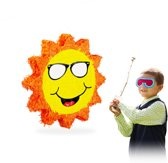 relaxdays Pinata zon - piñata - lachende zon met zonnebril - geel / oranje - zelf vullen