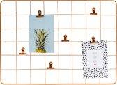 Dresz Wandrek Metaal  Inclusief 6 Clips   Inclusief 2 Trendy Kaarten   Rechthoek   45 x 33 cm   Rosé Goud