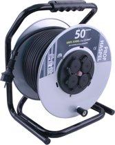 ETM  Professionele Kabelhaspel - 50m met 3 x 1.5 mm2 Vinyl kabel - Zwart