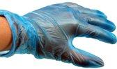 Vinyl Handschoen gepoederd blauw Maat: L