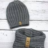 Sportmuts met sjaal - Beanie - Donker grijs: De Winter Favoriet! - Voor kinderen vanaf 3 tot ongeveer 9 jaar.