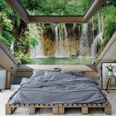 Fotobehang Waterfall 3D Skylight Window View   V4 - 254cm x 184cm   130gr/m2 Vlies