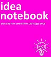 Idea Notebook Blank B5 Pink Lined 8mm 140 Pages Bulb