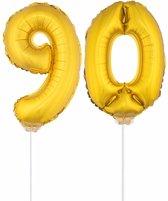 Gouden opblaas cijfer 90 op stokjes - verjaardag versiering / jaar