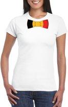 Wit t-shirt met Belgie vlag strikje dames 2XL