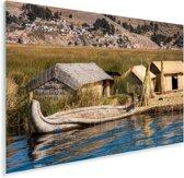 Rietconstructies op de Uroseilanden in Peru Plexiglas 90x60 cm - Foto print op Glas (Plexiglas wanddecoratie)