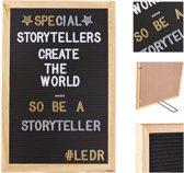 LEDR® Letterbord 30 x 45  Zwart – Inclusief 354 witte én 354 gouden & zilveren letters, symbolen & emoticons – Inclusief verstelbaar standaard - Eiken houten frame