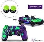 Verfspetters / Paars met Groen Combo Pack - PS4 Controller Skins PlayStation Stickers + Thumb Grips