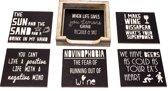 Originele Grappige Onderzetters Zwarte Set 11, 6 stuks met een houder van FSC-gecertificeerd hout
