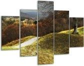 Glasschilderij Natuur | Groen, Bruin, Wit | 100x70cm 5Luik | Foto print op Glas |  F001650