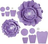 Papieren bloemen, d: 15+25 cm, 230 gr, paars, 2stuks