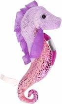 Knuffel zeepaardje glimmend paars/roze 25 cm