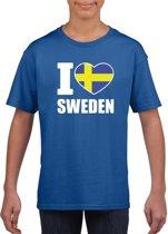 Blauw I love Sweden / Zweden supporter shirt kinderen - Zweeds shirt jongens en meisjes M (134-140)