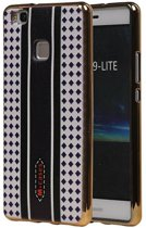 Huawei P9 Lite Hoesje M-Cases Ruit Design TPU Backcover Paars