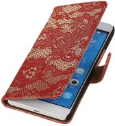 Huawei Honor 6 Plus Lace Kant Booktype Wallet Hoesje Rood - Cover Case Hoes