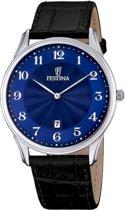 Festina F6851/3 Klassiek - Horloge- Staal - Zilverkleurig - 41 mm