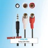Budget 0.2 meter 3,5 mm jack naar Female tulp RCA aux audio kabel