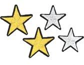 Strijk embleem 'Sterren zilver en goud patch set (4)' – stof & strijk applicatie