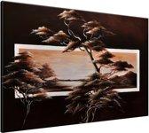 Schilderij handgeschilderd Boom | Bruin | 120x70cm 1Luik