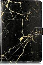 Mobigear Colored Drawing Pattern Wallet Case Zwart Goud Marble Samsung Galaxy Tab S4 10.5