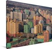 De gebouwen van Pyongyang in het Aziatische Noord-Korea Canvas 180x120 cm - Foto print op Canvas schilderij (Wanddecoratie woonkamer / slaapkamer) XXL / Groot formaat!
