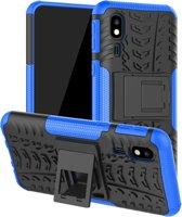 Let op type!! Tire Texture TPU + PC schokbestendig geval voor Galaxy a2 core  met houder (blauw)