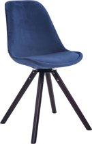 Clp Troyes - Eetkamerstoel - Fluweel - Blauw kleur onderstel : walnoot (eik)