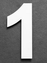 RVS Huisnummer 20cm Kleur Wit Nummer 1