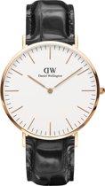 Daniel Wellington Classic Reading DW00100014 - Horloge - Leer - Zwart - Ø 40 mm