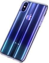 Baseus iPhone XR Patterned Glitter Hard Cover Case Blue + Full Closure Glass hoesje