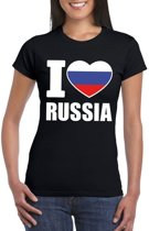 Zwart I love Rusland fan shirt dames XL